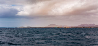 View of Fuerteventura from a ferry Royalty Free Stock Photos