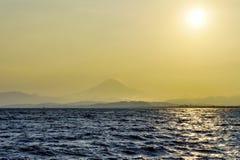 View on Fuji mountain through evening haze Royalty Free Stock Photos