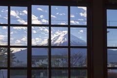 View of fuji mountain with snow cap in window frame, yamanshi, j. Apan, winter season Stock Images
