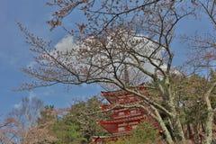 Arakura Sengen Shrine Chureito pagoda. View of fuji mountain from step up way  to Arakura Sengen Stock Photos