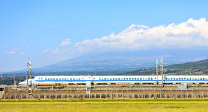 View of  Fuji and train, Shizuoka, Royalty Free Stock Photography