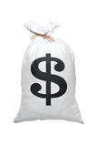 A view of a full bag with US dollar sign. Isolated on white background Stock Images