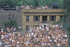 View of full bleachers, full of fans during a professional Baseball Game, Wrigley Field, Illinois Royalty Free Stock Photo