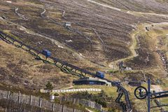View of Funicular Railway on Cairngorm Mountain royalty free stock image