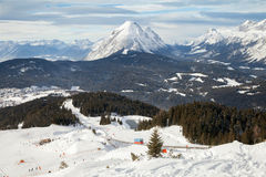 The view of funicular railway line in Seefeld Stock Photos
