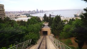 View of a funicular railway used to go up and down the hills stock footage