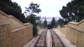 View of a funicular railway used to go up and down the hills stock video footage