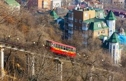 View of a funicular railway used to go up and down the hills Vladivostok, Russia. View of a funicular railway used to go up and down the hills Vladivostok stock photos