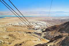 View from the funicular to Masada fortress, Israel Royalty Free Stock Photos