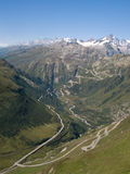 View of Furka high mountain pass, Switzerland. View of Furka high mountain pass, Alps Switzerland Stock Photos