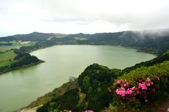 View on Furnas Lake, Sao Miguel, Azores,. Portugal stock photography