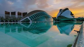 View of futuristic buildings in the park of Turia during the spring sunset in Valencia.  stock video footage