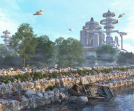 View of Futuristic City with flying spaceships old  and modern concept. View of Futuristic City with flying spaceships and old boat and modern concept Stock Photo