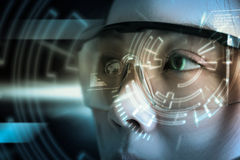 View of a Futuristic eye technology user interface with scan. View of a Futuristic eye technology user interface with scan Stock Photos