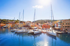 View of Gaios town, Paxos island, Greece. Beautiful view of Gaios town, Greek islands Stock Photo