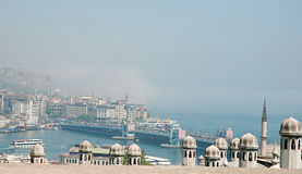 View of the Galata Bridge and fog over Bosphorus.  Stock Photography