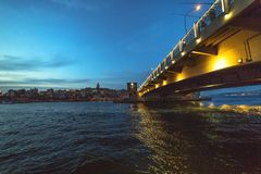 View of Galata bridge and Galata tower royalty free stock images