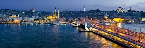 View of Galata Bridge at night Istanbul, Turkey stock image