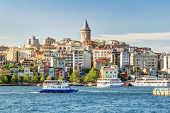 View of Galata district, Istanbul. Cityscape with Galata Tower over the Golden Horn in Istanbul, Turkey stock photos