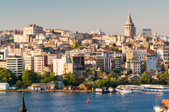 View of Galata district at sunset in Istanbul Royalty Free Stock Photography