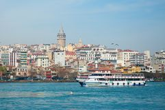 View of Galata tower across the Bosporus Stock Image