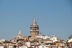Galata Tower from Byzantium times in Istanbul. View of the Galata Tower from Byzantium times in Istanbul stock images