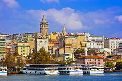 View of Galata tower from Golden Horn, Istanbul Royalty Free Stock Image