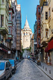 View of the Galata Tower from the street, Istanbul Stock Image