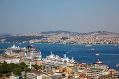 The view from Galata tower to Bosphorus Strait, Istanbul Royalty Free Stock Images