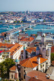 The view from Galata Tower to Galata Bridge with the old houses Stock Photography