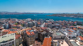 The view from Galata Tower to Galata Bridge timelapse Golden Horn, Istanbul, Turkey. The view from Galata Tower to Galata Bridge timelapse which is connected stock footage