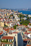 The view from the Galata tower to the residental houses with Bos Royalty Free Stock Photo