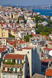 The view from the Galata tower to the residental houses with Bos Royalty Free Stock Photography