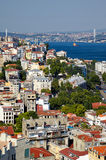 The view from the Galata tower to the residental houses with Bos Royalty Free Stock Photos