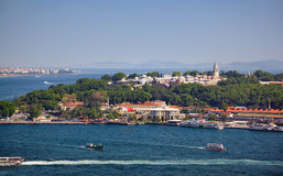 The view from Galata Tower to the Sarayburnu Royalty Free Stock Photography