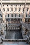 View of Galleria Vittorio Emanuele II iconic shopping centre, taken from the terraces of Milan Cathedral / Duomo di Milano. stock images