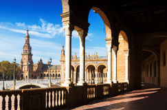 View from  gallery to  Plaza de Espana. Seville Stock Photos