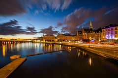 View of Galma Stan at night from Slussen, in Södermalm, Stockho Stock Images