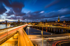 View of Galma Stan at night from Slussen, in Södermalm, Stockho Stock Image