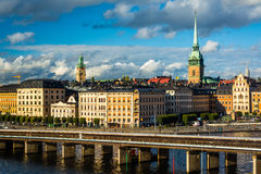 View of Galma Stan from Slussen, in Södermalm, Stockholm, Swede Royalty Free Stock Photography