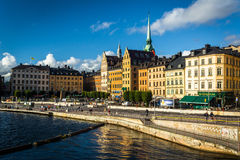 View of Galma Stan from Slussen, in Södermalm, Stockholm, Swede Stock Photography