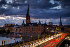 View of Galma Stan from Slussen, in Södermalm, Stockholm, Swede Royalty Free Stock Photo