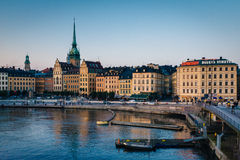 View of Galma Stan from Slussen, in Sodermalm, Stockholm, Sweden Royalty Free Stock Photo