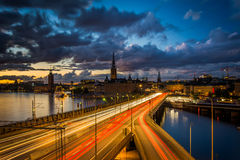 View of Galma Stan at sunset from Slussen, in Södermalm, Stockh Royalty Free Stock Photos