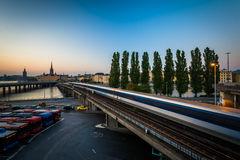View of Galma Stan and Tunnelbana tracks at sunset, in Slussen, Royalty Free Stock Image