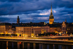 View of Galma Stan at twilight from Slussen, in Södermalm, Stoc Stock Photos