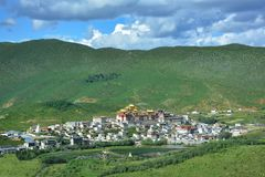 View of Ganden Songzanlin Buddhist Monastery from the top of the hill, Shangri-La, royalty free stock image