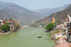 View on the Ganga at Laxman Jhula in India Stock Photography