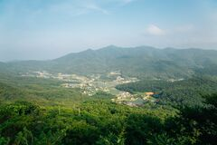 View of Ganghwado Island mountains from Goryeosan mountain Jeokseoksa temple in Incheon, Korea