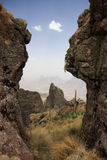 View through a gap in Simien Mountains Stock Photos